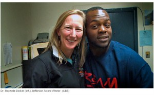 Dr Rochelle Dicker Left Jefferson Award Winner CBS